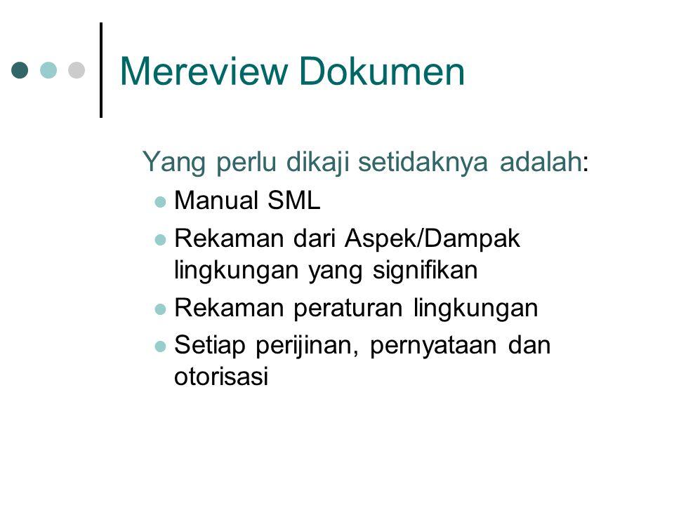 Mereview Dokumen Yang perlu dikaji setidaknya adalah: Manual SML