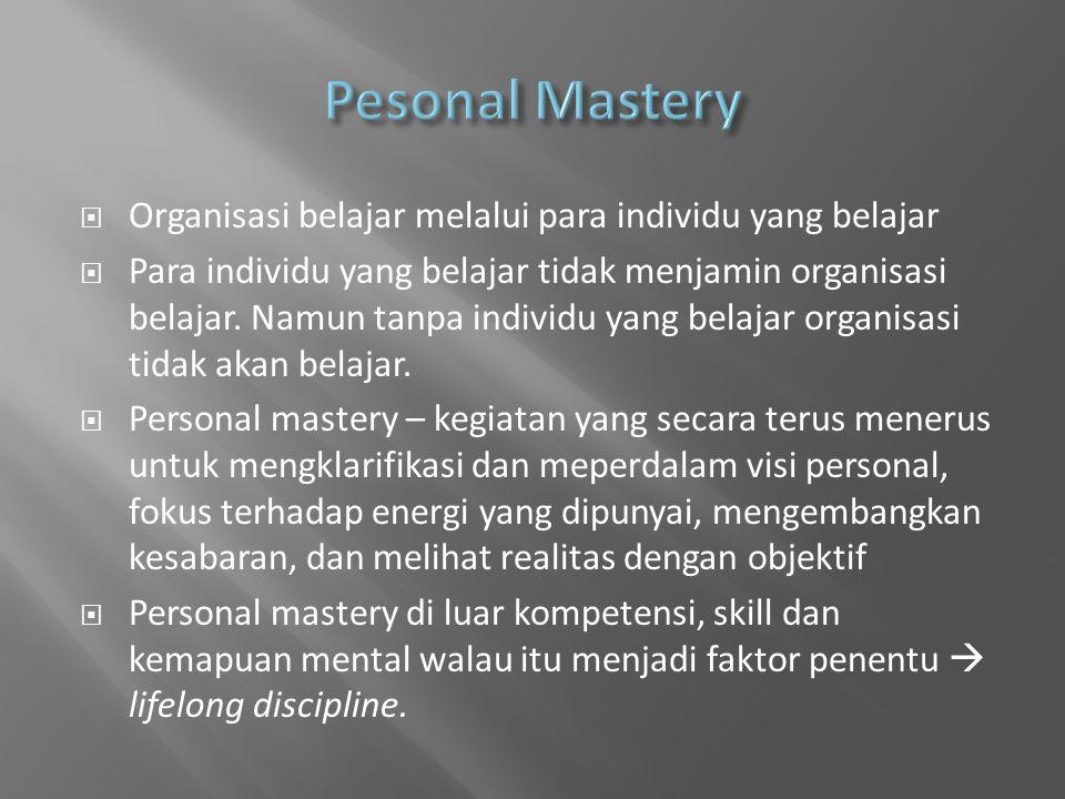 Pesonal Mastery Organisasi belajar melalui para individu yang belajar