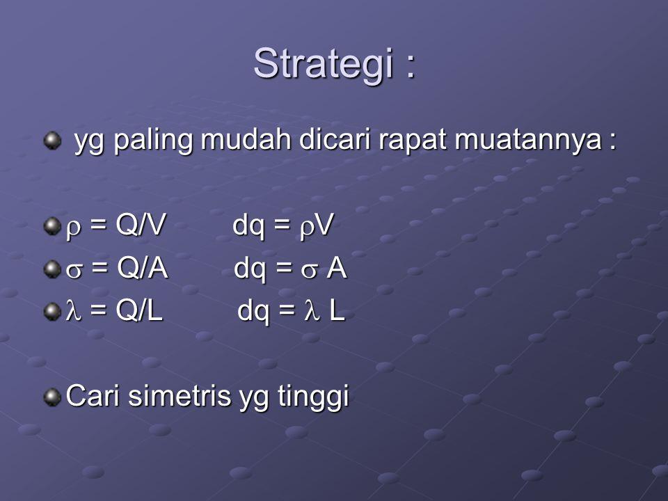 Strategi : yg paling mudah dicari rapat muatannya :  = Q/V dq = V