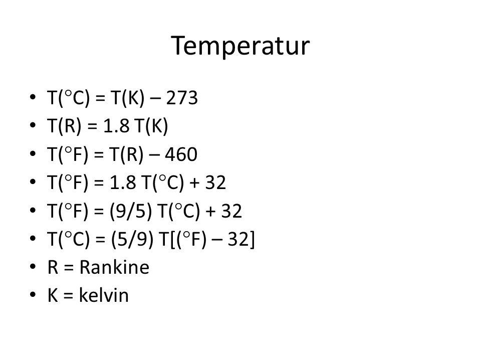 Temperatur T(C) = T(K) – 273 T(R) = 1.8 T(K) T(F) = T(R) – 460