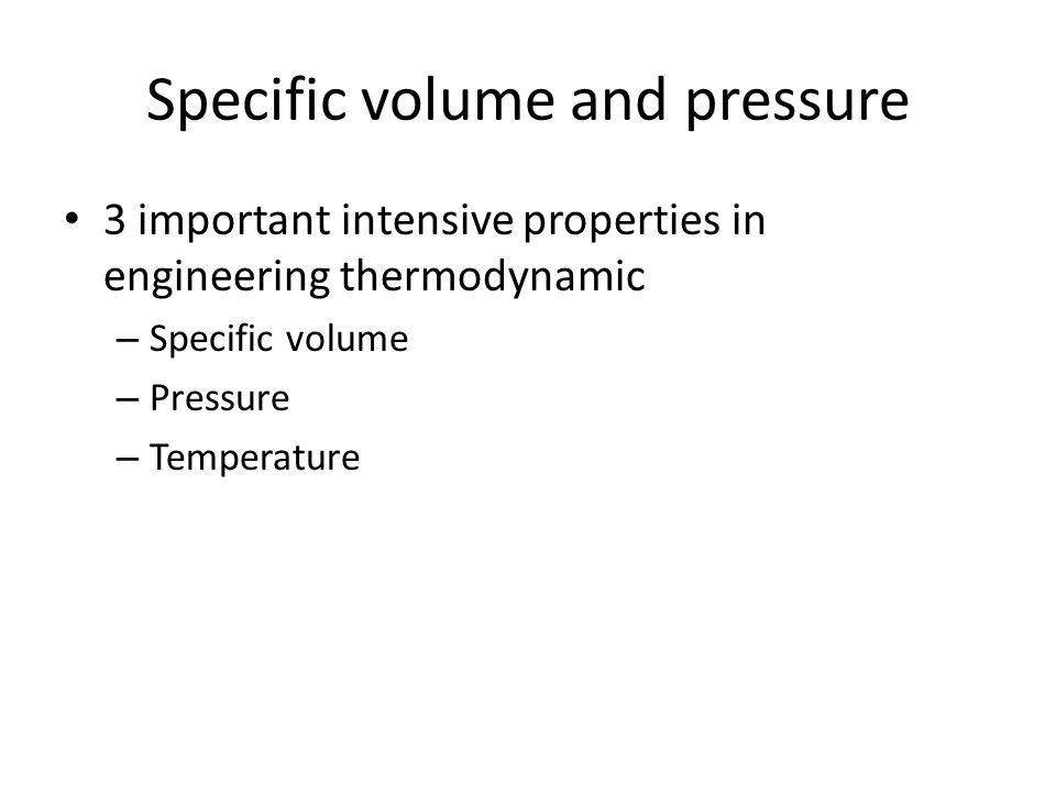 Specific volume and pressure