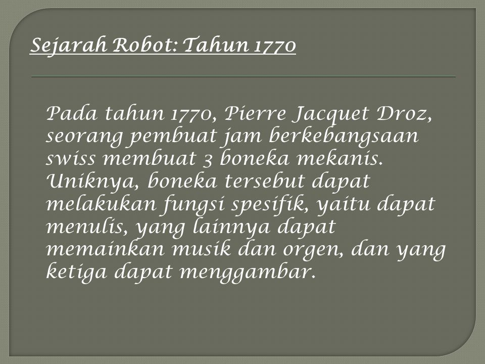 Sejarah Robot: Tahun 1770