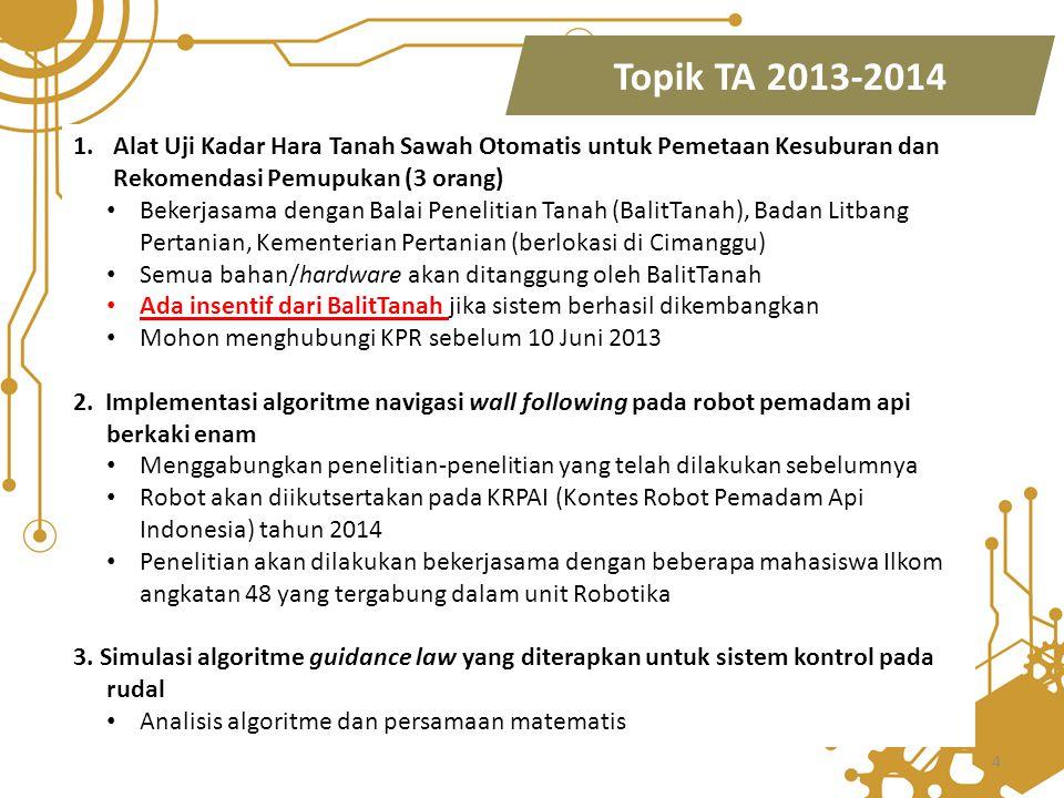 Topik TA 2013-2014 Alat Uji Kadar Hara Tanah Sawah Otomatis untuk Pemetaan Kesuburan dan Rekomendasi Pemupukan (3 orang)