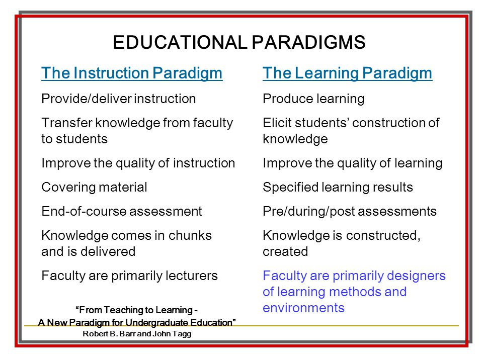 EDUCATIONAL PARADIGMS Robert B. Barr and John Tagg