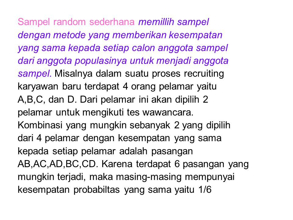 Sampel random sederhana memillih sampel