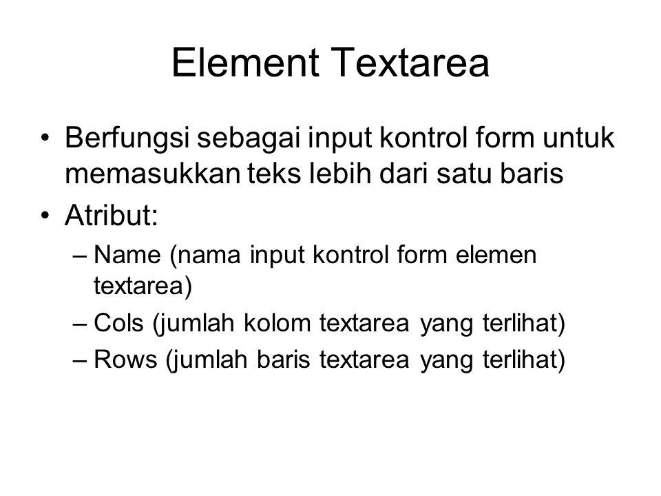 Element Textarea Berfungsi sebagai input kontrol form untuk memasukkan teks lebih dari satu baris. Atribut: