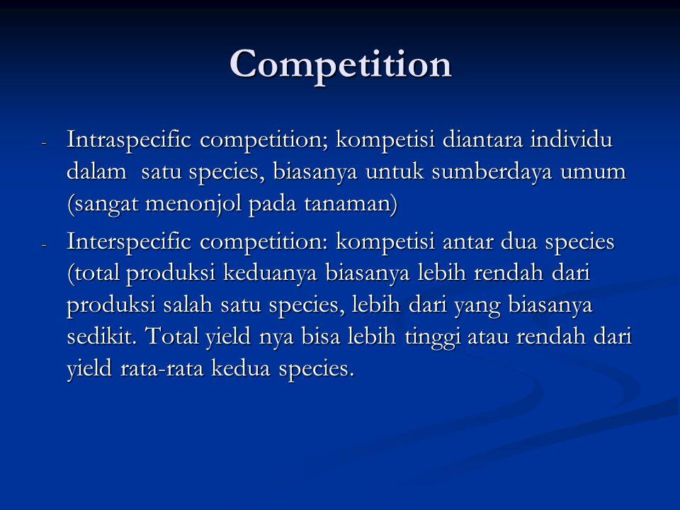 Competition Intraspecific competition; kompetisi diantara individu dalam satu species, biasanya untuk sumberdaya umum (sangat menonjol pada tanaman)