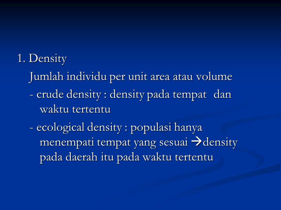 1. Density Jumlah individu per unit area atau volume. - crude density : density pada tempat dan waktu tertentu.