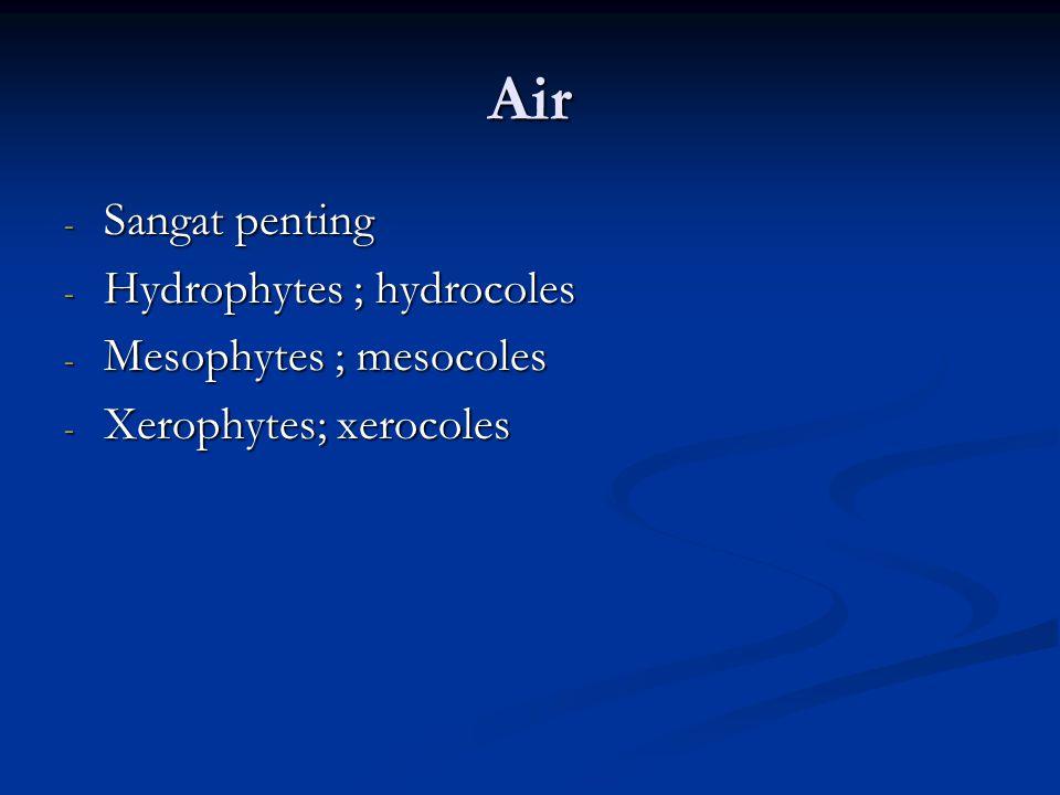 Air Sangat penting Hydrophytes ; hydrocoles Mesophytes ; mesocoles