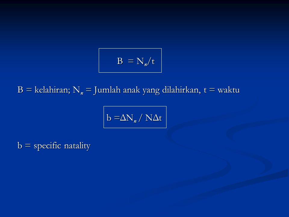 B = Nn/t B = kelahiran; Nn = Jumlah anak yang dilahirkan, t = waktu