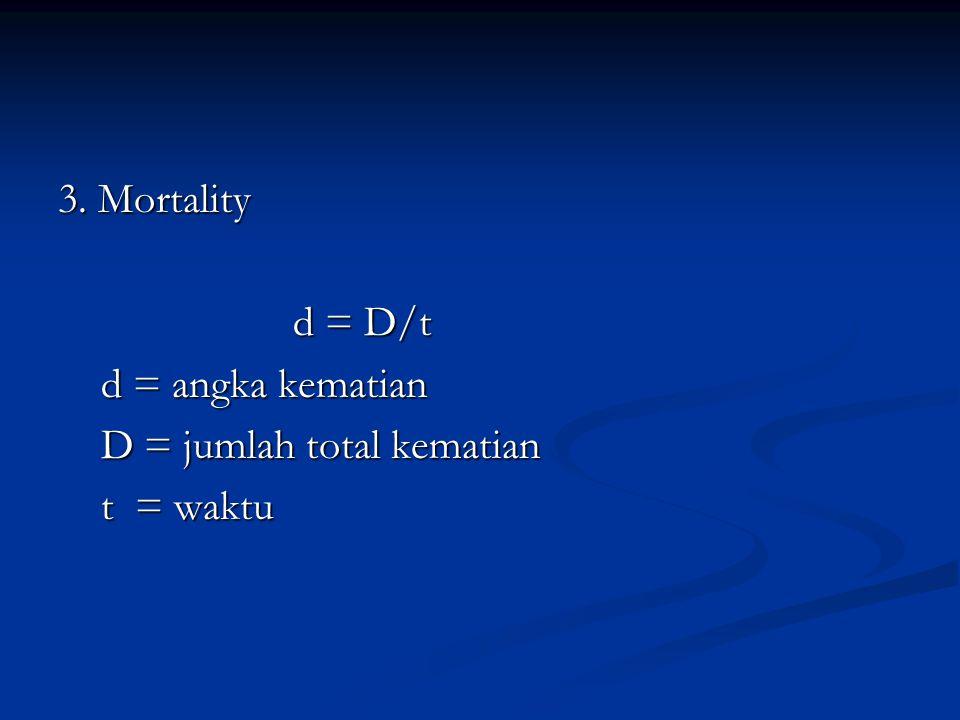 3. Mortality d = D/t d = angka kematian D = jumlah total kematian t = waktu