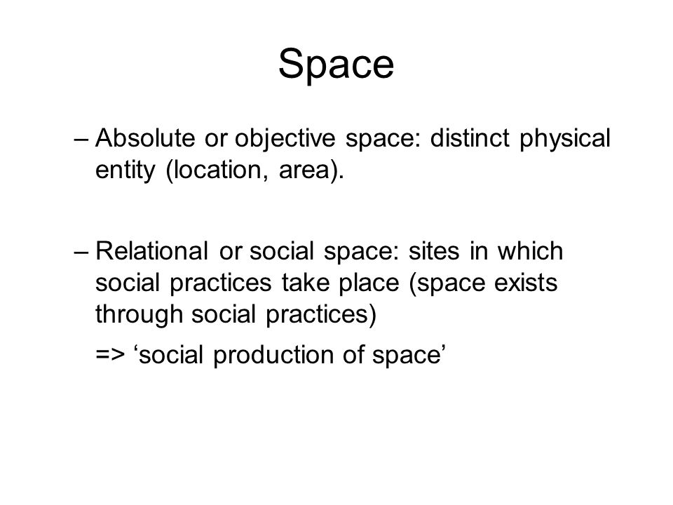 Space Absolute or objective space: distinct physical entity (location, area).
