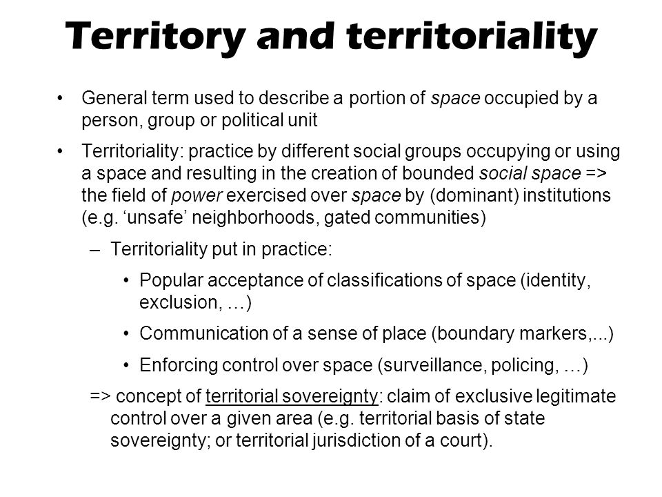 Territory and territoriality