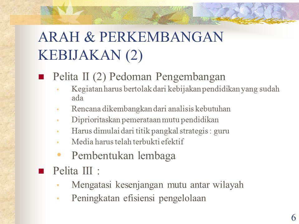 ARAH & PERKEMBANGAN KEBIJAKAN (2)