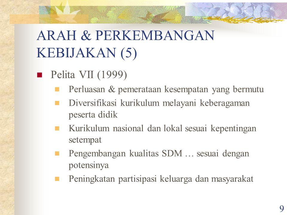 ARAH & PERKEMBANGAN KEBIJAKAN (5)