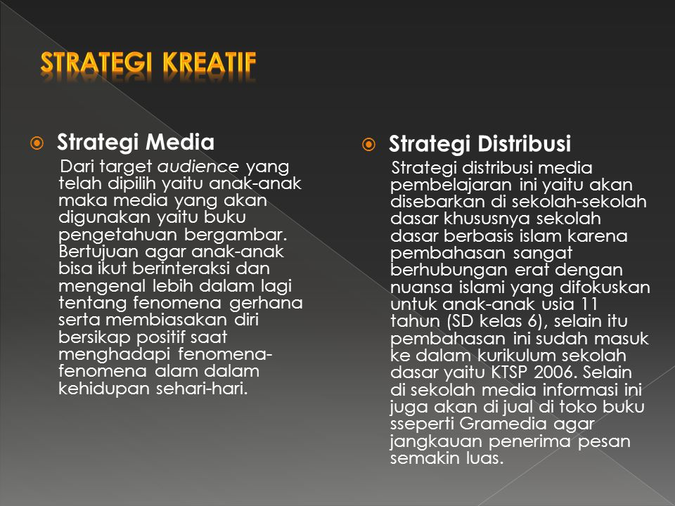 Strategi Kreatif Strategi Media Strategi Distribusi