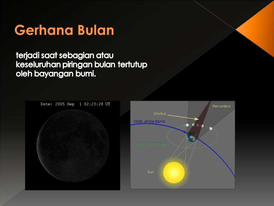Gerhana Bulan terjadi saat sebagian atau keseluruhan piringan bulan tertutup oleh bayangan bumi.