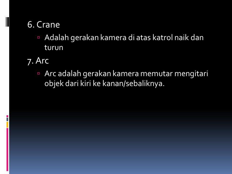 6. Crane 7. Arc Adalah gerakan kamera di atas katrol naik dan turun