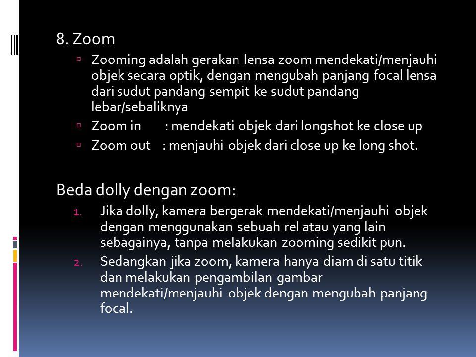 Beda dolly dengan zoom:
