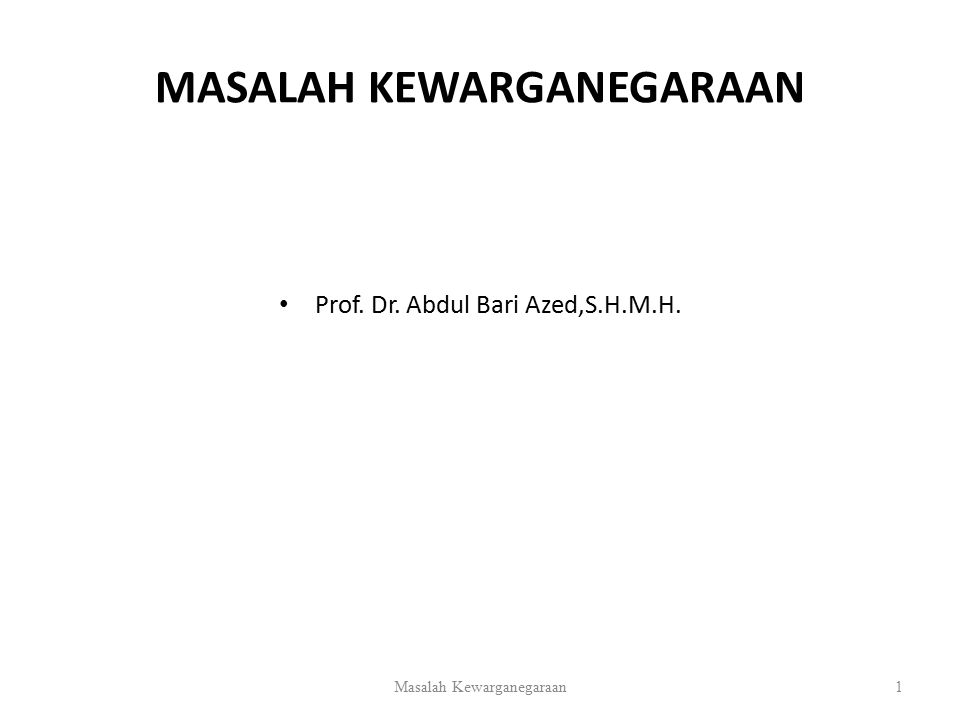 MASALAH KEWARGANEGARAAN