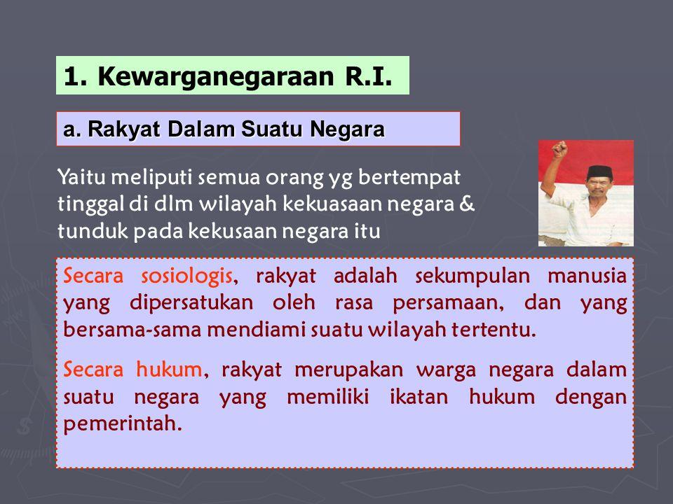 Kewarganegaraan R.I. a. Rakyat Dalam Suatu Negara