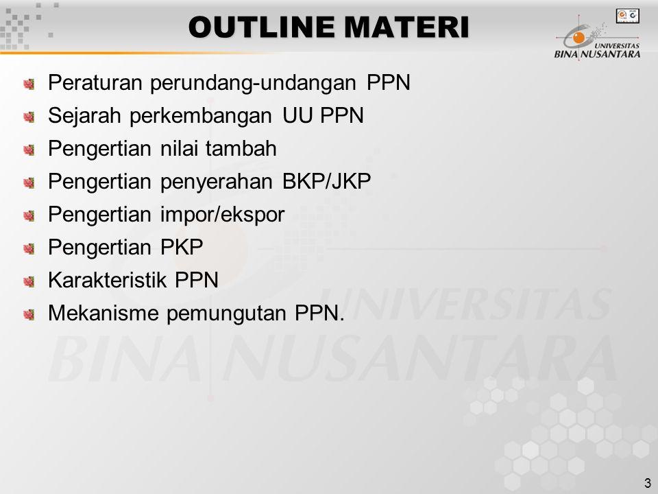 OUTLINE MATERI Peraturan perundang-undangan PPN