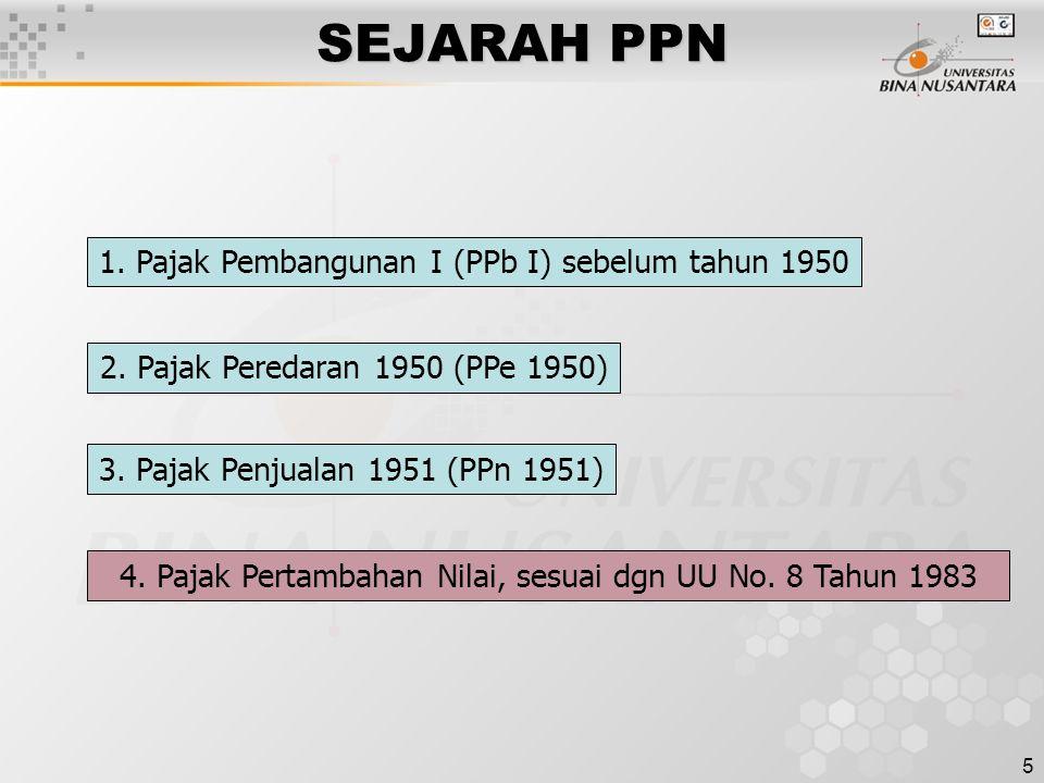 SEJARAH PPN 1. Pajak Pembangunan I (PPb I) sebelum tahun 1950