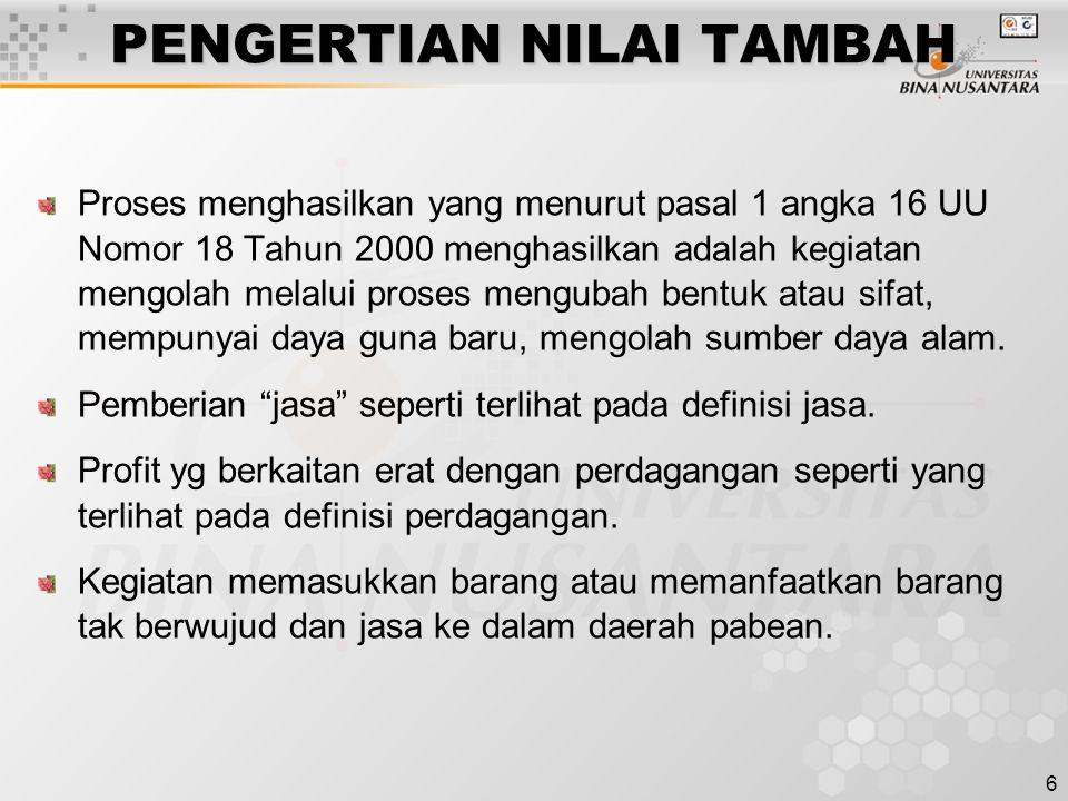 PENGERTIAN NILAI TAMBAH