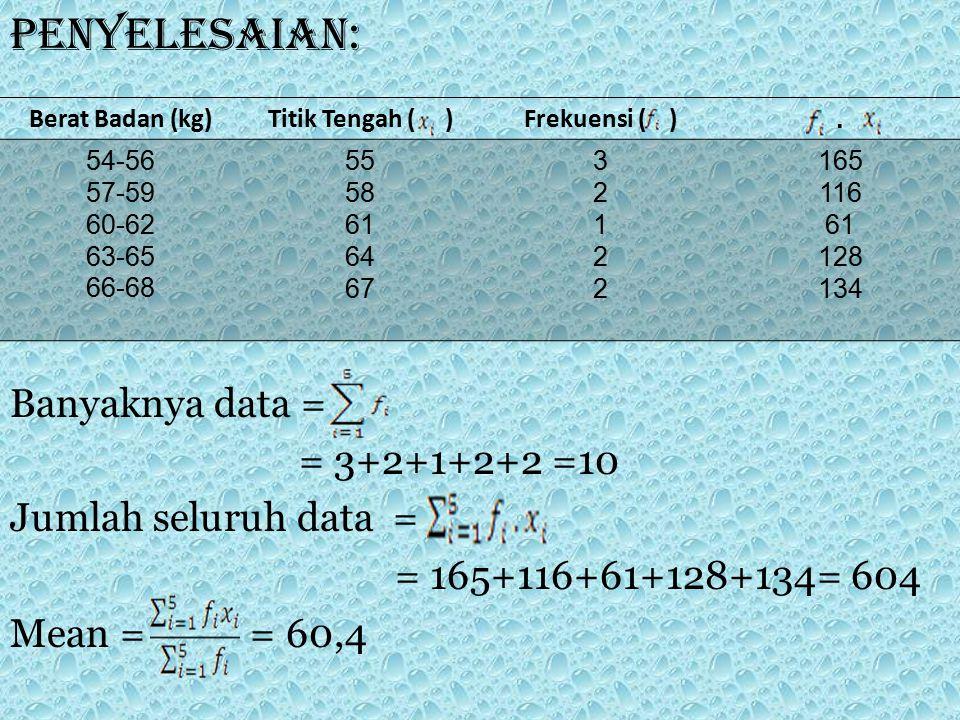 Penyelesaian: Banyaknya data = = 3+2+1+2+2 =10 Jumlah seluruh data =