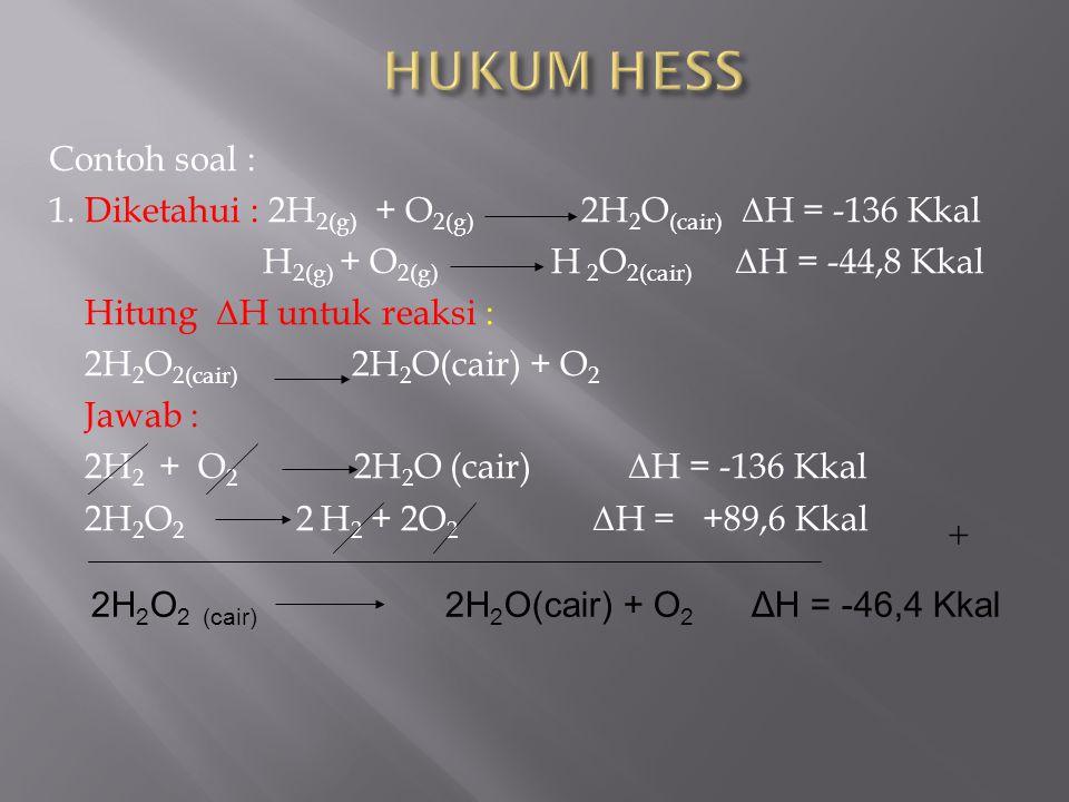 HUKUM HESS Contoh soal :