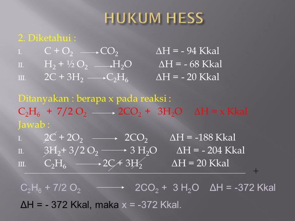 HUKUM HESS 2. Diketahui : C + O2 CO2 ΔH = - 94 Kkal