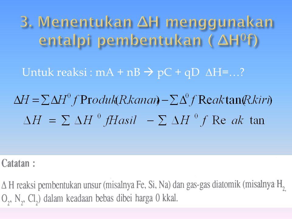 3. Menentukan ∆H menggunakan entalpi pembentukan ( ∆H0f)