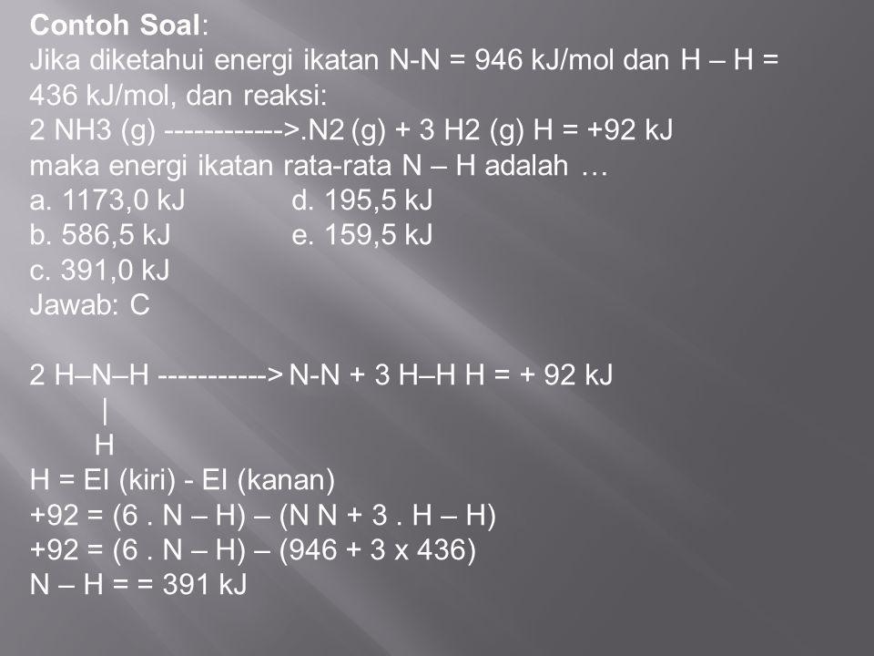 Contoh Soal: Jika diketahui energi ikatan N-N = 946 kJ/mol dan H – H = 436 kJ/mol, dan reaksi: 2 NH3 (g) ------------>.N2 (g) + 3 H2 (g) H = +92 kJ.