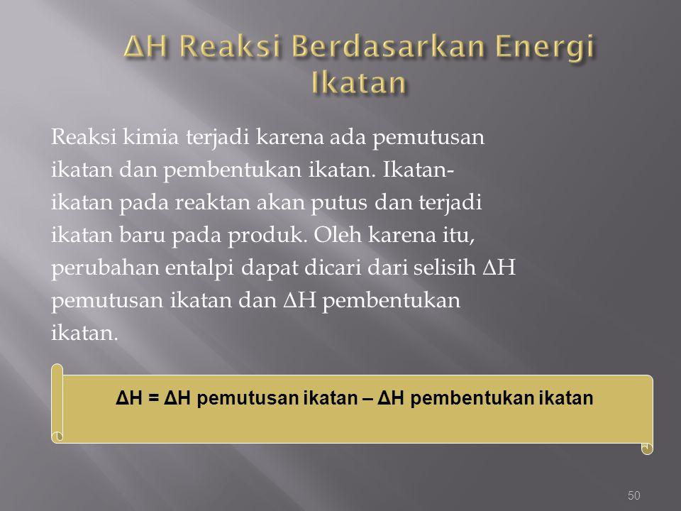 ΔH Reaksi Berdasarkan Energi Ikatan