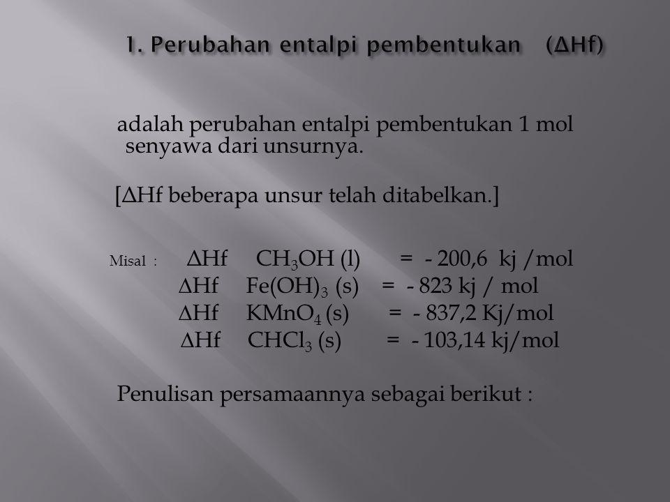 1. Perubahan entalpi pembentukan (ΔHf)