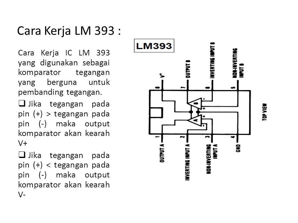 Cara Kerja LM 393 : Cara Kerja IC LM 393 yang digunakan sebagai komparator tegangan yang berguna untuk pembanding tegangan.