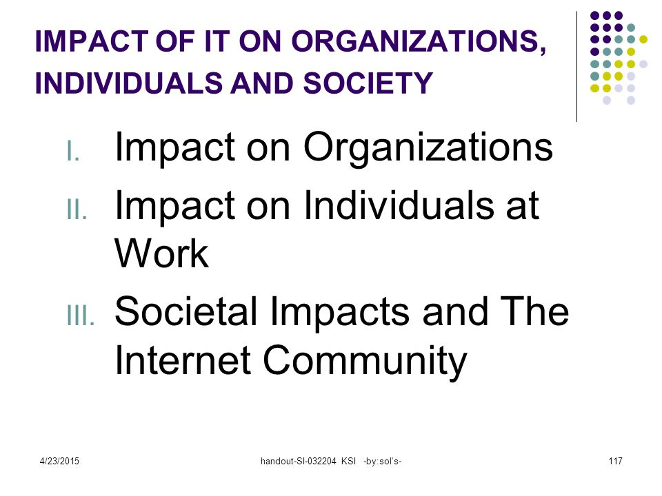 IMPACT OF IT ON ORGANIZATIONS, INDIVIDUALS AND SOCIETY