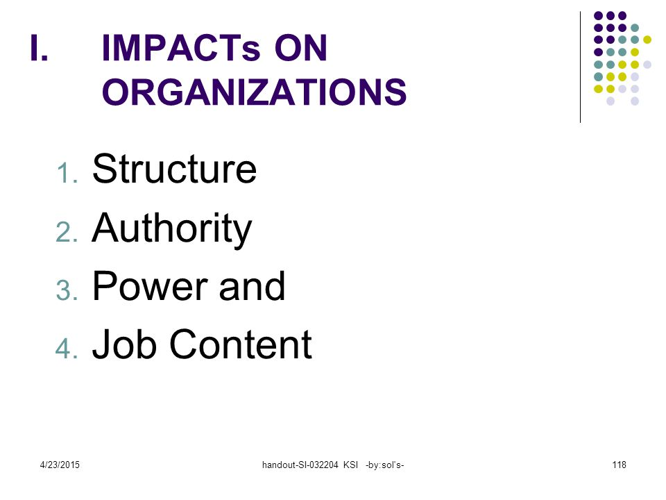 IMPACTs ON ORGANIZATIONS