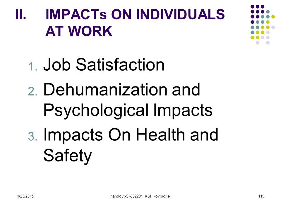 IMPACTs ON INDIVIDUALS AT WORK