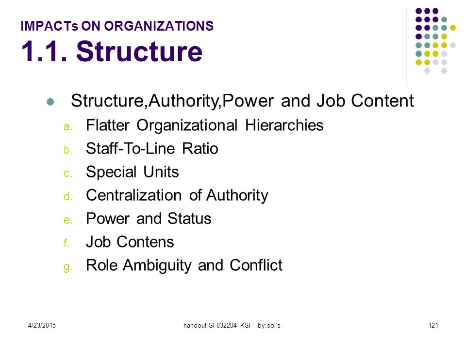 IMPACTs ON ORGANIZATIONS 1.1. Structure