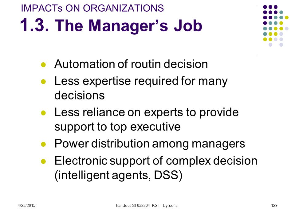 IMPACTs ON ORGANIZATIONS 1.3. The Manager's Job