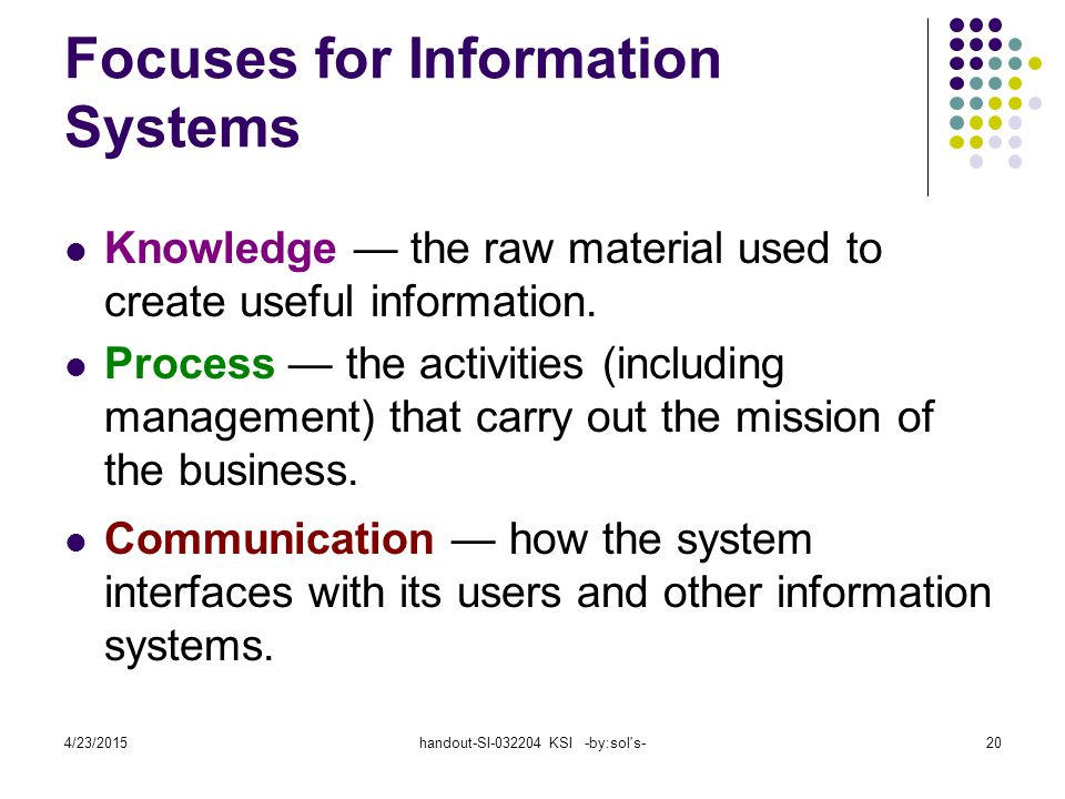 Focuses for Information Systems