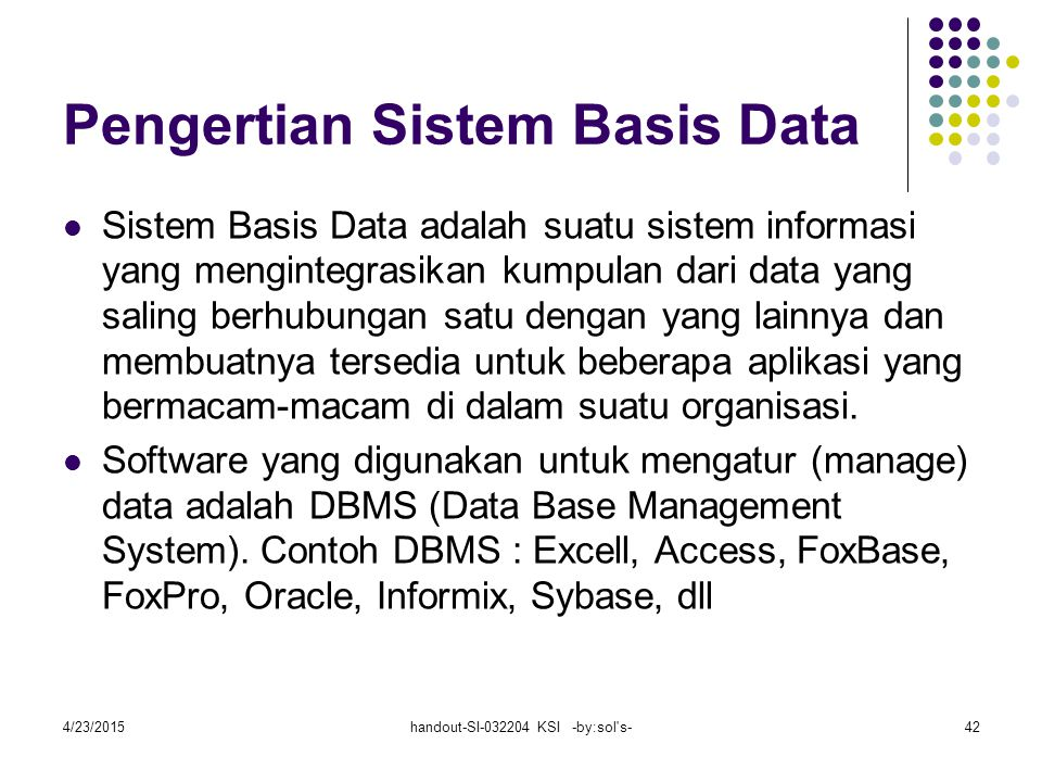 Pengertian Sistem Basis Data