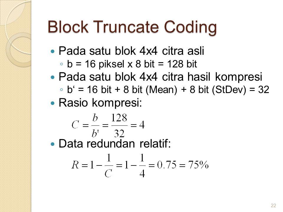 Block Truncate Coding Pada satu blok 4x4 citra asli