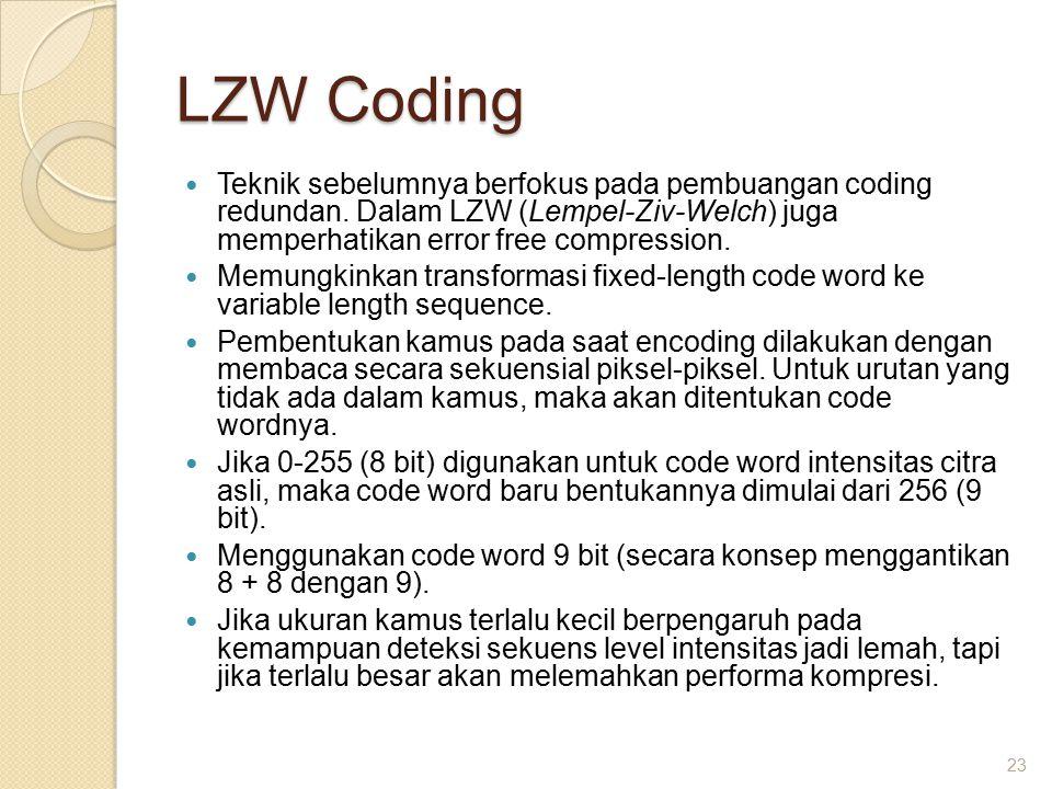 LZW Coding Teknik sebelumnya berfokus pada pembuangan coding redundan. Dalam LZW (Lempel-Ziv-Welch) juga memperhatikan error free compression.