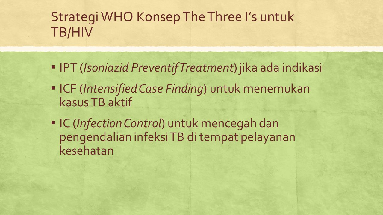 Strategi WHO Konsep The Three I's untuk TB/HIV