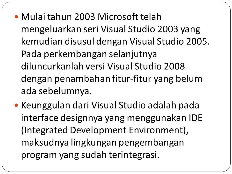 Mulai tahun 2003 Microsoft telah mengeluarkan seri Visual Studio 2003 yang kemudian disusul dengan Visual Studio 2005. Pada perkembangan selanjutnya diluncurkanlah versi Visual Studio 2008 dengan penambahan fitur-fitur yang belum ada sebelumnya.