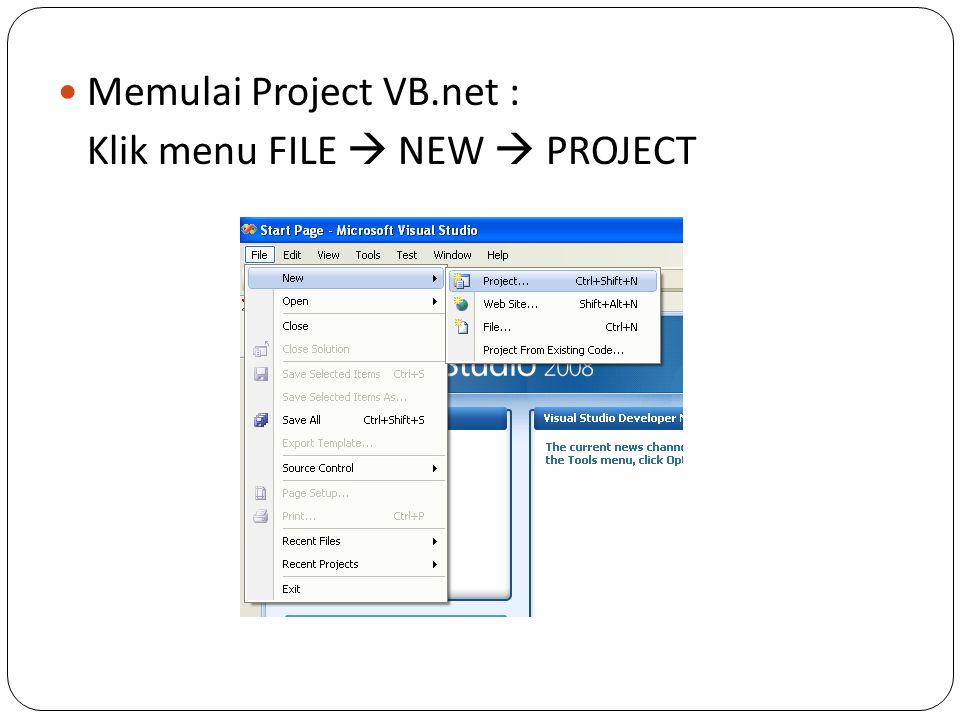 Memulai Project VB.net :