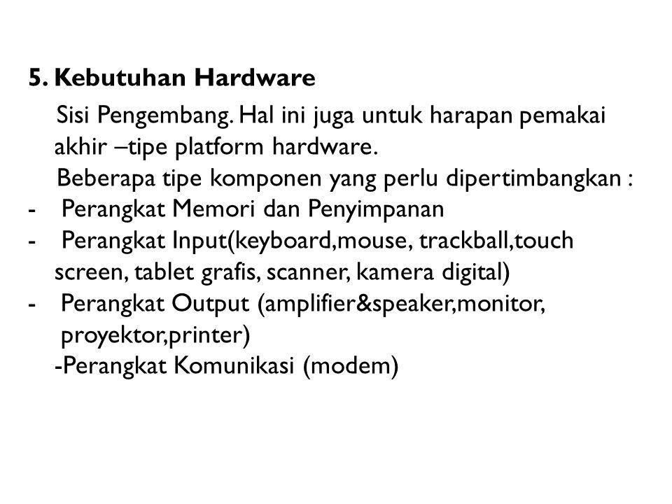 5. Kebutuhan Hardware Sisi Pengembang. Hal ini juga untuk harapan pemakai akhir –tipe platform hardware.