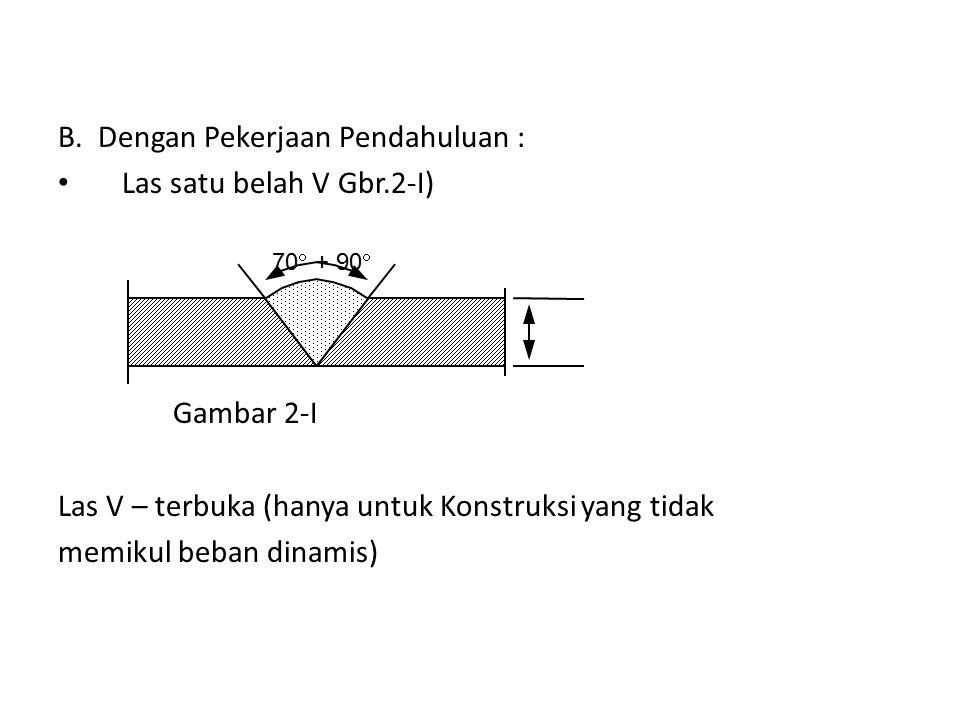 B. Dengan Pekerjaan Pendahuluan : Las satu belah V Gbr.2-I)
